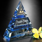 Accolade Indigo Pyramid Diamond Shaped Crystal & Glass