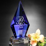 Azurite Award Diamond Shaped Crystal & Glass