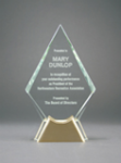 Diamond Glass with  Gold Metal Base Employee Recognition
