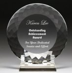 Corporate Crystal Facet Plates Employee Recognition