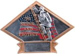 Firefighter Diamond Plate Resin Police/Firefighter